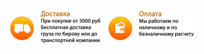 При покупке до 3000 руб доставка по Кирову курьером 150 руб, либо самовывоз с магазина